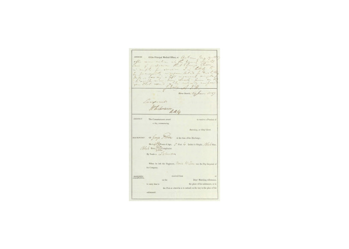 Discharge papers of George Rose