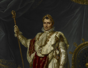 Napoleon Bonaparte. A full-length portrait of Napoleon in his robes of state, Jean Baptiste Borley. Copyright British Library.