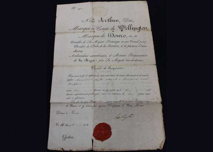 Passport Signed by the Duke of Wellington - Age of Revolution