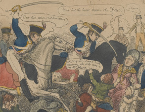 "Peterloo Cartoon, ""Manchester Heroes"". Copyright National Army Museum."
