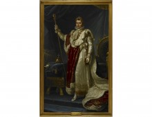 Napoleon Bonaparte. A full-length portrait of Napoleon in his robes of state, by Jean Baptiste Borély. Copyright British Library.
