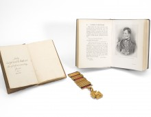 Manuscript of A Week at Waterloo, Lady Magdalene De Lancey, alongside a picture of Colonel De Lancey and De Lancey's Peninsular Gold Cross.