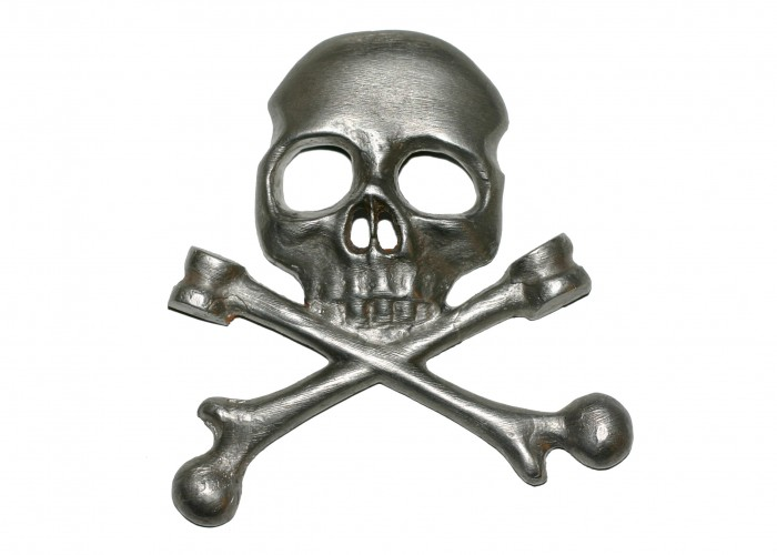 Death's head insignia of the Black Brunswicker regiment from Waterloo.