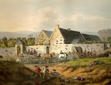 a painting of a farmhouse with soldiers in redcoast passing by outside