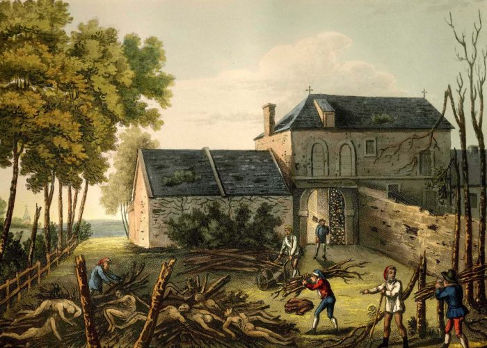 a print showing corpses being laid on a pyre next to a farmhouse