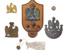 a photo of Waterloo relci eagle shields and musket balls