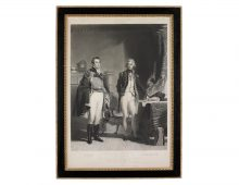 a portrait of two men wearing army and navy offcier's attired of the Georgian period in a drawing room