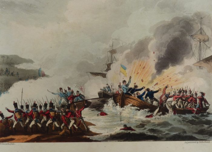 A print showing troops in boats coming under fire