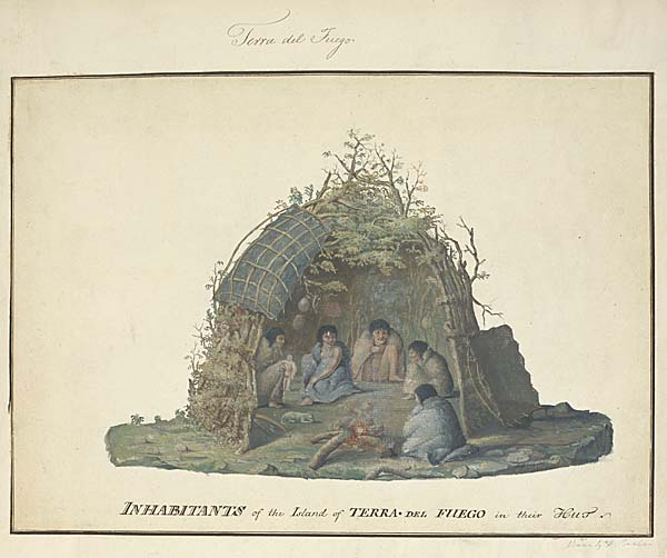 a drawing of native peoples shown in a cutaway drawing of their hut