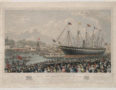 Launch of the Great Britain Steamship,1843. Lithograph of a painting by Joseph Walter
