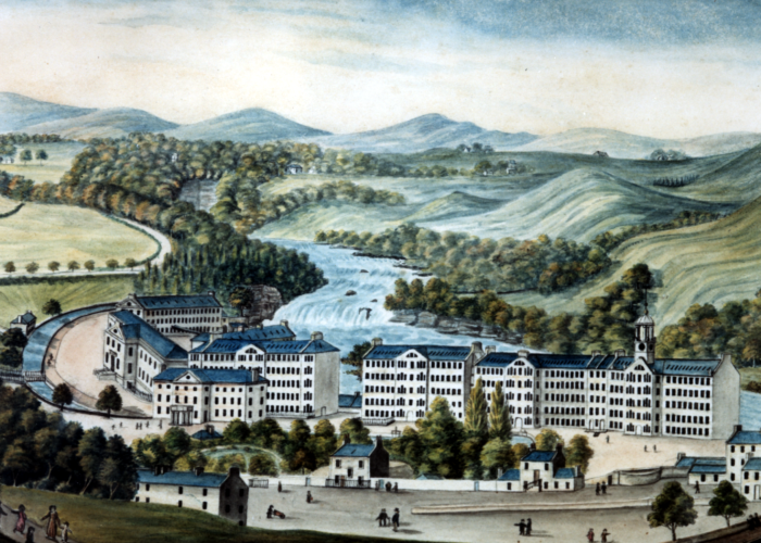 A watercolour painting of a green, hilly landscape with a river flowing through, in the foreground a town can be seen which has been built across the river