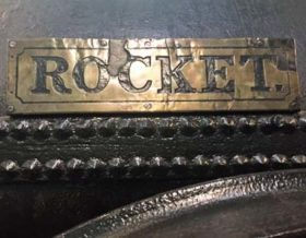 photo of the brass name plate 'Rocket' on Stephenson' Rocket