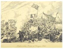 A drawing of a battle, cannons and soldiers can be seen in the foregorund and a union jack flag flies above the mass of soldiers.