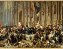 A painting of crowds outside Paris town hall, a man standing in the centre of the frame can be seen rejecting another man on a white horse holding a red flag.