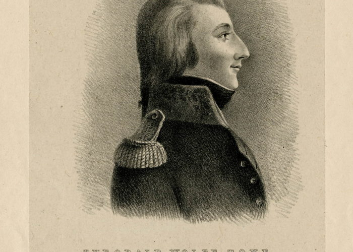 A black and white sketch of a young man. in profile. dressed in military uniform. The text beneath the image reads 'Theobald Wolfe Tone'