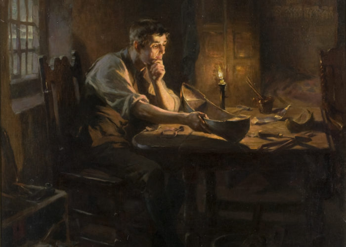 A painting of a man seated at a table in a small room lit only by one candle. The man is looking thoughtfully at a model of a boat which he holds in his hand.