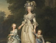 A portrait showing Queen Marie Antoinette in the centre with her two young daughters either side walking in a park, all three women are dressed in expensive period clothing.