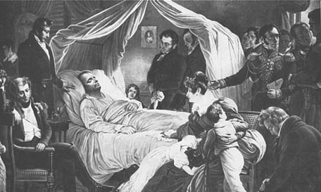 a drawing of Napoleon on his deathbed surrounded by his staff