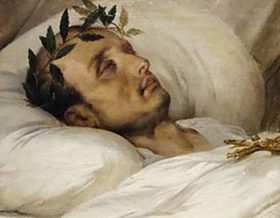 a painitng of a man lying in bed with a laurel wreath around his head