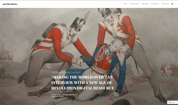 Age of revolutions website screenshot showing illustration of the death of Picton