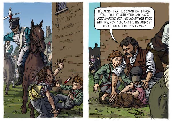 two panels from a comic book showing a child knocked over by a horseman and man helping them